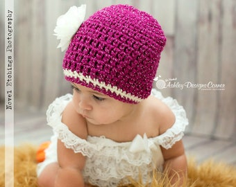 Crochet Pattern Glamour Beanie (Newborn - Adult) - PDF - Instant Digital Download