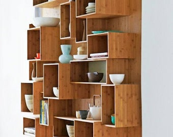 Modern Bookcase Cubic Shelf Wall Unit Open Wood Shelves Shelving DIY  Expandable Re Creation Modular
