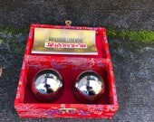 Large Chinese Baoding Balls Exercise Stainless Steel Musical Iron Ball Chimes Red Silk Box 2 Inch