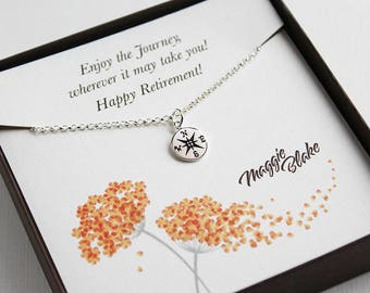 Retirement gifts for women her retirement gift for teacher mom mother friend sister coworker aunt happy retirement silver compass necklace