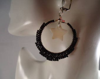 Black beadwoven Hoop and star mother of Pearl