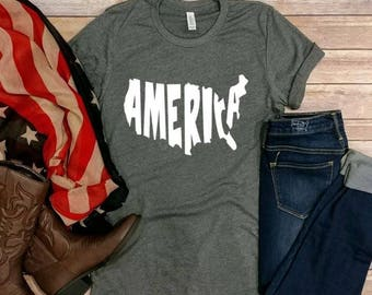 America! 4th of July tee, Graphic Tee, Forth of July, Patriotic, Red White and Blue, Firework