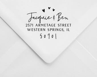 Wedding Address Stamp – Hearts Invitation Stamp – RSVP Envelope Stamp – Wood Handle Address Stamp