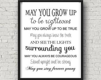 Bob Dylan Forever Young Lyrics Parenthood Theme Song Nursery Art/Sign/Wall Print DIGITAL DOWNLOAD