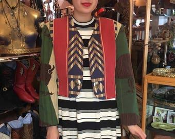 Vintage 90's Western Buffalo Jacket, Short Crop Jacket, Southwest Jacket with Silver Buttons Conchos Women's Size Large