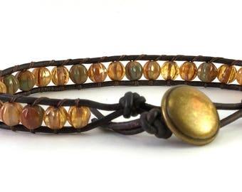 Single wrap bracelet, Czech glass melon beads