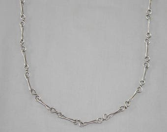 Modernist Handmade Sterling Chain Necklace