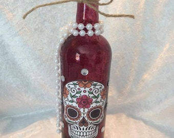 Day of the Dead / Sugar Skull Painted Bottles with Pearls and Twine
