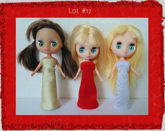 DOLL CLOTHES Lot of 3 Evening Gowns handmade for Littlest Pet Shop BLYTHE Petite Lot #12
