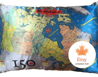 Canada's 150th Commemorative Map Pillow - FREE SHIPPING