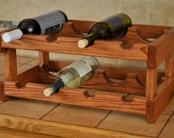 8-bay red oak wine rack, red mahogany stain