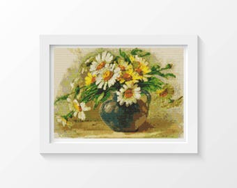 Daisy Cross Stitch Kit, Daisies Cross Stitch, Embroidery Kit, Art Cross Stitch, Flowers Cross Stitch, Catherine Klein (KLEIN01)