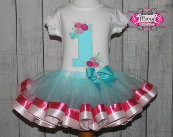 Floral First Shabby Chic Birthday Ribbon Trimmed Tutu, Shirt and Bow Set Aqua, PInk