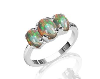 3-Stone Australian Black Opal Ring in 925 Sterling  SKU: R2258-925