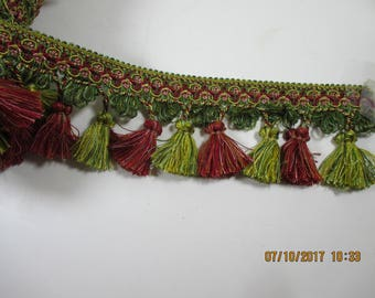 Tassel Fringe Trim ~ Red Green Gold