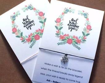 Wish String Bracelet Vintage Wreath Card & So the Adventure begins Y155