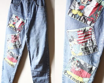 1980s Mickey Mouse patch jeans // vintage embroidered denim // vintage jeans