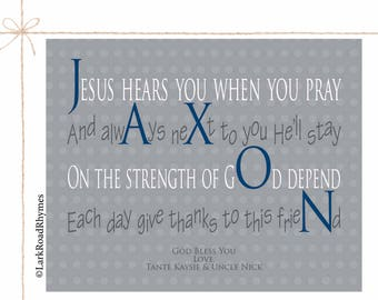 Baby Baptism Gift Personalized Christening Gifts For Godchild Gift From Godparents Baptism Prayer Godson Gift Religious Gift Poem 8x10 Jaxon