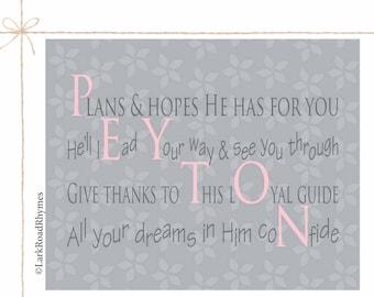 Baby Blessing Gift Baptism Gifts For Godchild Christian Gifts Religious Baby Gift Prayer Print Nursery Wall Art Christian Poem 8x10 Peyton