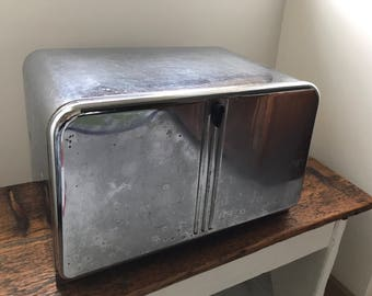 Vintage 1950s Chrome Beauty Box by Lincoln - Bread Box with Cutting Board - Vintage Breadbox