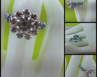 Rhinestone wire wrapped ring Size 7.5
