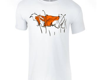 Fox t shirt, hand painted, men shirts, funky men top, fox in the grass, short sleeved, unique gift for him