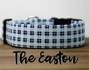 "Modern Blue Plaid Menswear Inspired Dog Collar ""The Easton"""