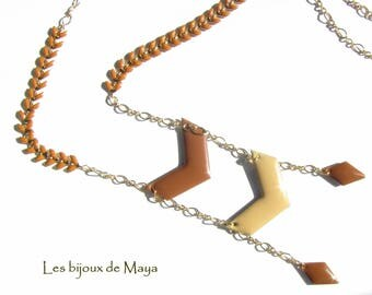 Chain necklace with spikes, Chevron and Argyle glazed Brown and beige