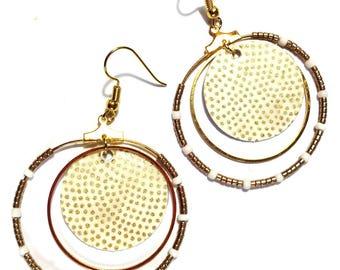 hoop earrings, Japanese paper white/gold, gold metal sequins
