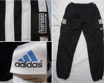 Vintage Retro Men's 90's Adidas Reversible Warmup Pants Black White Three Stripes Logo Cargo Spell Out Nylon Windbreaker Large