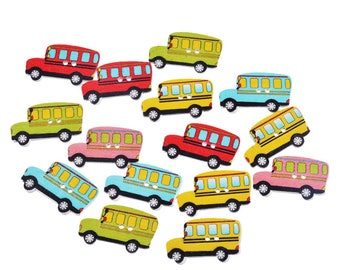 Set of 6 bus novelty buttons