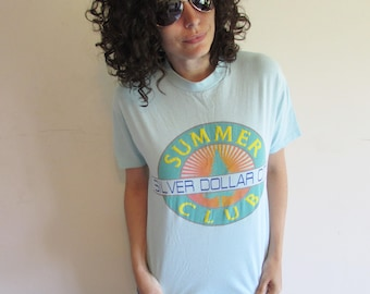 Vintae 80s Light Blue Silver Dollar City Summer Club Branson Missouri Vacation T Shirt