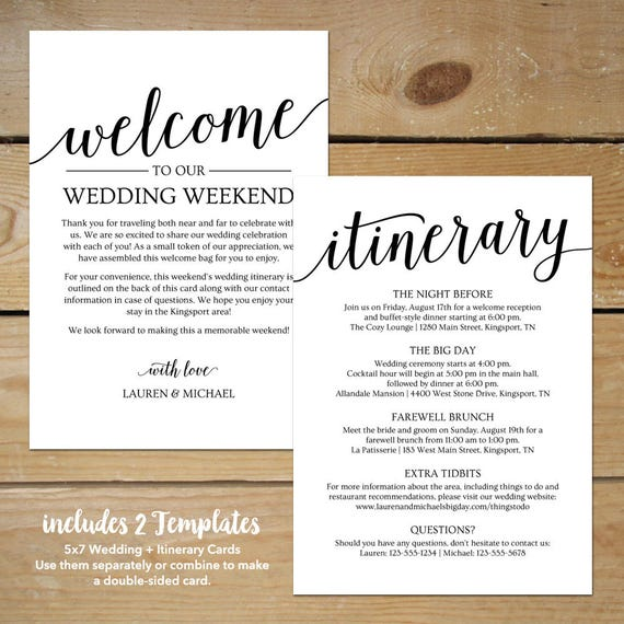 Wedding Itinerary Template Wedding Welcome Note  Printable