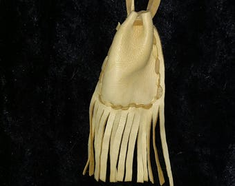 Soft Leather Pouch with Fringe