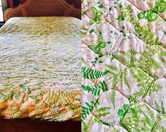 HTF Vintage VERA NEUMANN Green Butterflies Ferns Quilted Bedspread. mid century modern bedspread. botanical print. Retro modern home decor