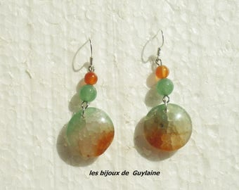 earrings agate and carnelian stone, 925 sterling