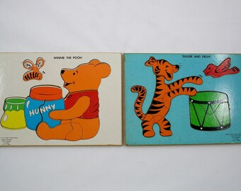 Vintage Wooden Inlay Puzzles Walt Disney Productions Winnie the Pooh and Tigger