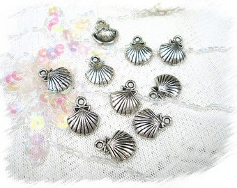 set of 10 charms metal silver