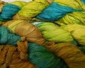 50 Yards,  Sari Silk Ribbon, Teal, , Golden /Green and Golden/Butterscotch