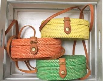 Handmade Rattan|Ata Grass Round bag; Bali bags; Crossbody;  Boho bag; Hippie Bags; Made from Bali, Indonesia