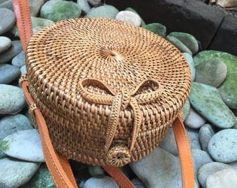 20 Cm  Round Handmade Rattan| Lace kechil bag; Bali bags; Crossbody;Boho bag; Hippie Bags; Made from Bali, Indonesia