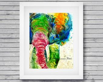 Elephant art print - colorful elephant, elephant lover gift, elephant wall decor, elephant spirit animal, elephant nursery art print