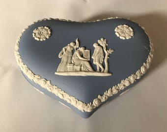 Vintage Blue Wedgwood Jasperware Heart-Shaped Covered Trinket Box - England
