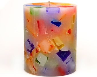 Cosmic Candles Rainbow Chunk Round Pillar Unscented 3x4