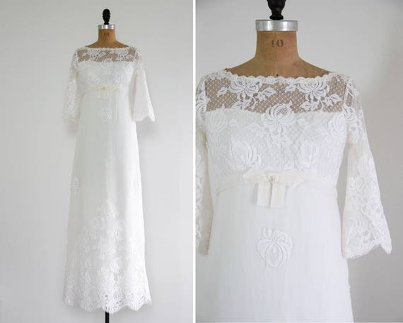 vintage 1960s wedding dress | 60s bell sleeve wedding gown | lace wedding dress with cape train | 1970s wedding dress