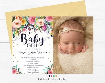 BIRTH ANNOUNCEMENT Girl, Baby Announcement, Baby Thank you Card Girl, Girl Watercolor Birth Announcement, New Baby, Baby Girl Thank you Card