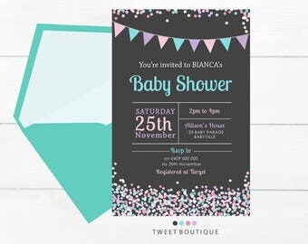 BABY SHOWER Invitation, Baby SPRINKLE Invitation, Confetti Baby Invitation, Baby Printable, Print Yourself, Confetti Invitations, Baby Girl