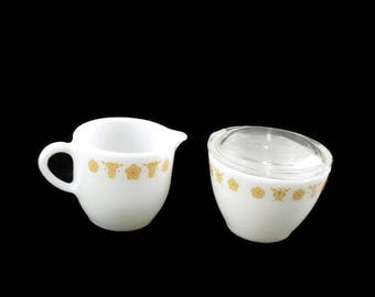 Vintage Pyrex Butterfly Gold Cream and Sugar with Lid