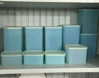 Vintage Aqua Blue Tupperware * Turquoise Rectangular and Square Round Covered Containers * Set of 10 Various Sizes