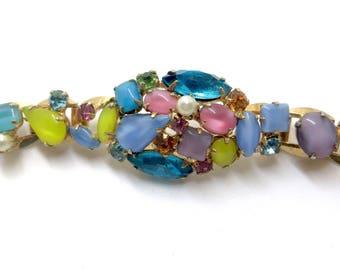 Art Glass Bracelet  Multicolor Givre Glass Rhinestone Navettes 1960s Vintage Jewelry Statement Bracelet